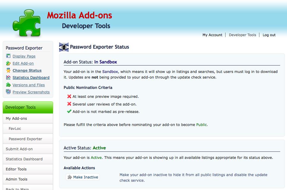 Screenshot of new Sandbox Status Changer