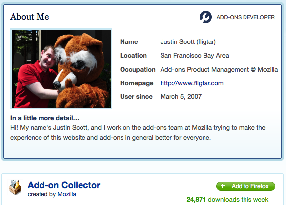 Screenshot of AMO User Profile