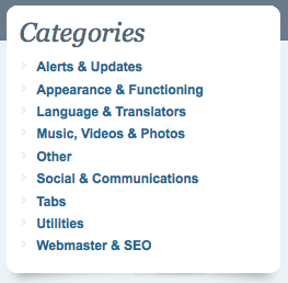 Screenshot of ChromeExtensions.org Categories