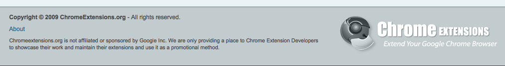 Screenshot of ChromeExtensions.org Footer