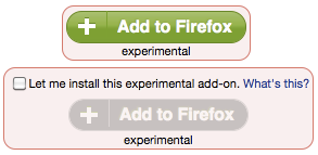 Screenshot of Experimental buttons