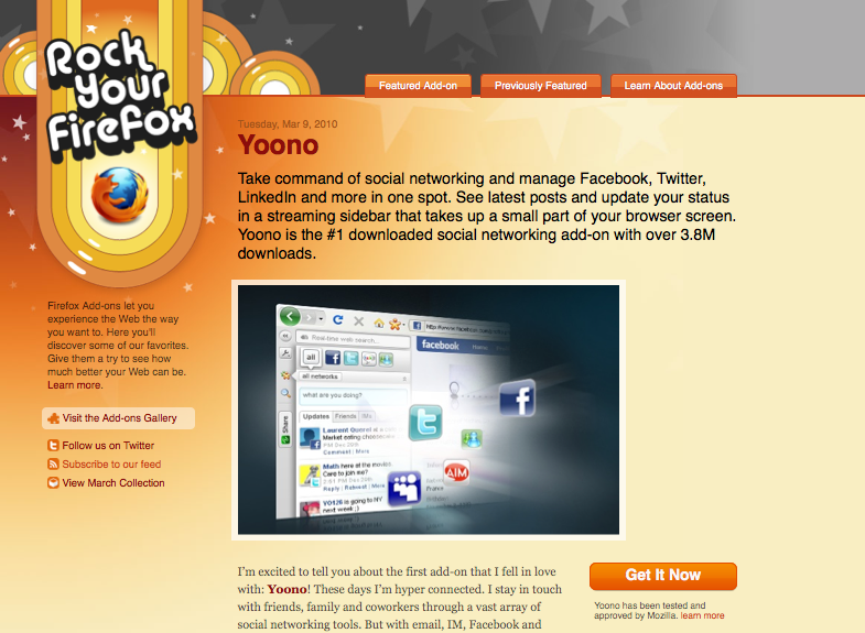 Screenshot of Rock Your Firefox homepage