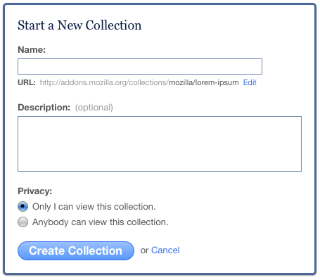 Mock-up of collection creation on-the-fly