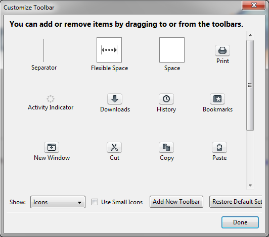 Screenshot of Customize dialog