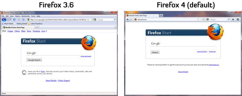 Comparison of Firefox 3.6 and Firefox 4 default UIs