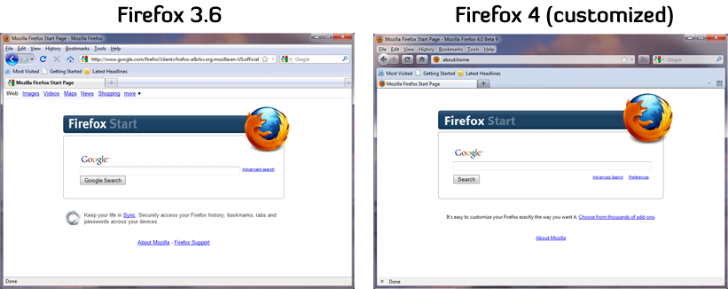 Comparison of Firefox 3.6 default with  Firefox 4 customized UI